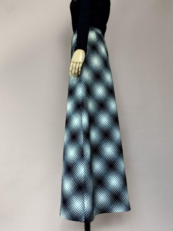 Vtg 50s Koret Long Black and White Plaid Skirt / … - image 5