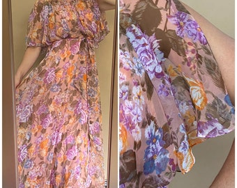 Vtg 60s Pink Floral Sheer Maxi Dress / Flutter Sleeve / XS /Small