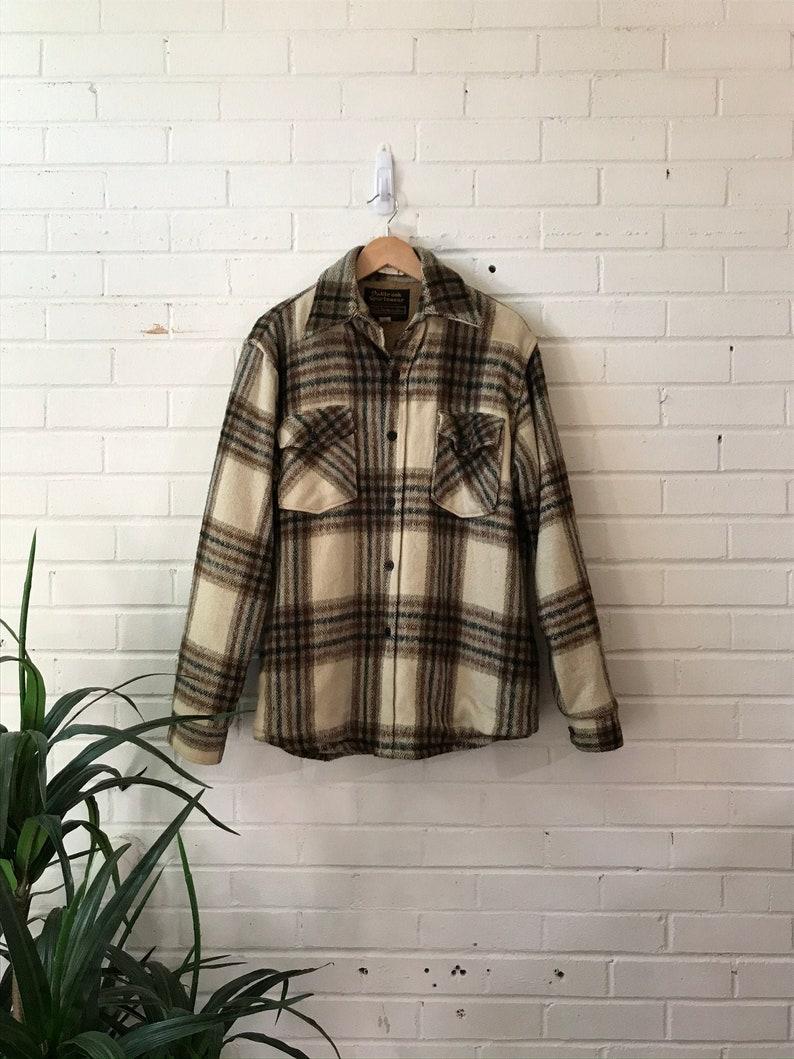 1970s Sears Beige Flannel Fleece-Lined Coat / Oakbrook image 0