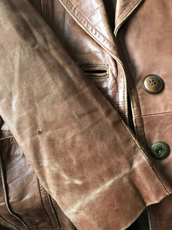 1970s Buttery Soft Brown Leather Jacket / Blazer … - image 9