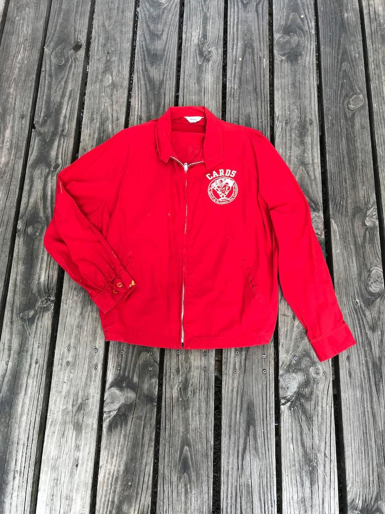 Vintage Red Cotton Cards Lamar Tech Cardinals Football Bomber image 0