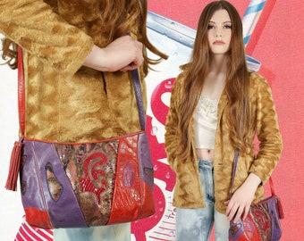 Vtg 70s Sharif Red/Purple Snakeskin Leather Purse / Boho Exotic Shoulder Handbag with Tassel