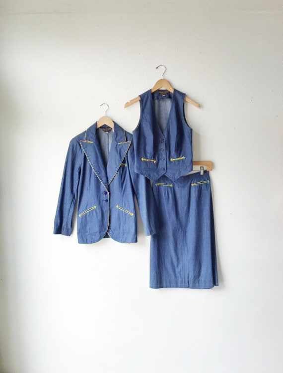 60s 70s Denim 3 Piece Western Skirt Suit Set / Vin