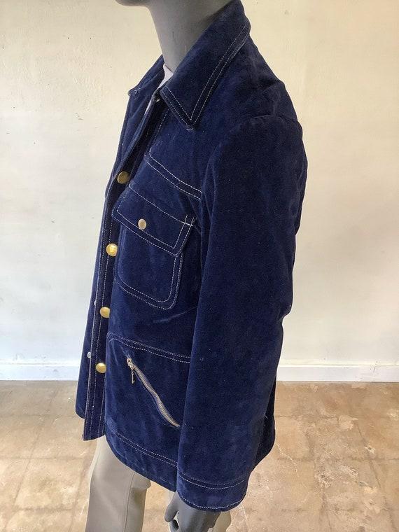 70s Vtg JC Penney Blue Velvet Jacket / Size Medium - image 8