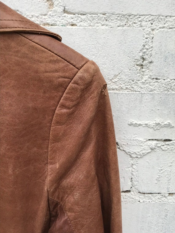 1970s Buttery Soft Brown Leather Jacket / Blazer … - image 5