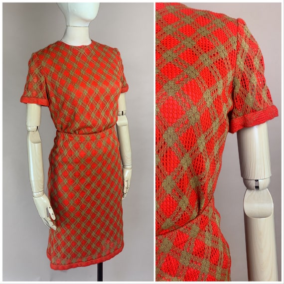 Vtg 50s Anne Fogarty Red and Gold Knit 2 Piece Ski