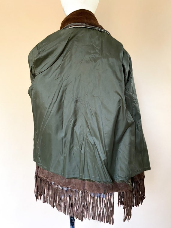 Vtg 60s Brown Suede Fringe Southwestern Jacket / … - image 9
