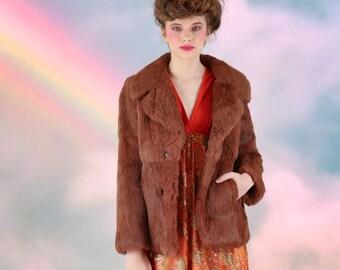 Vtg 70s Cinnamon Brown Rabbit Fur Coat / Small