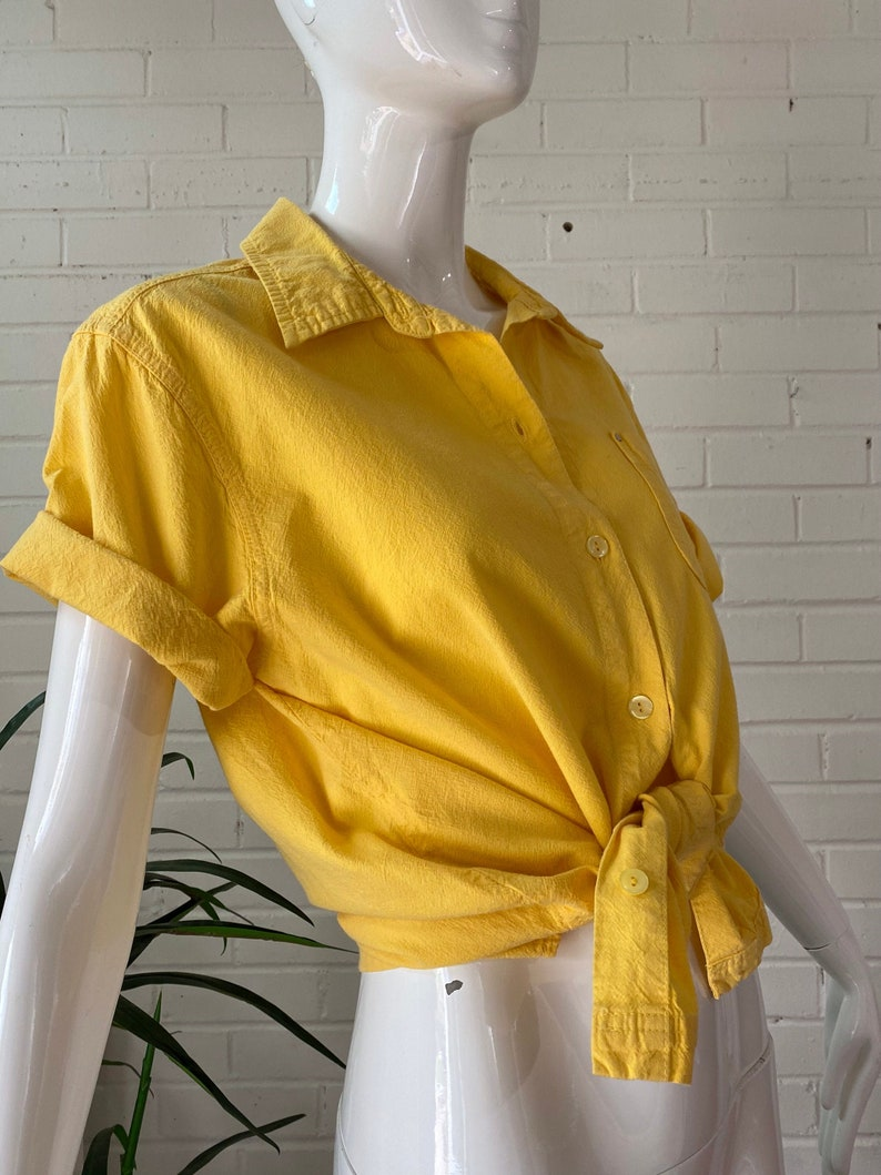 90s Pastel Yellow Boxy Cotton Short Sleeve Button Down Blouse image 0
