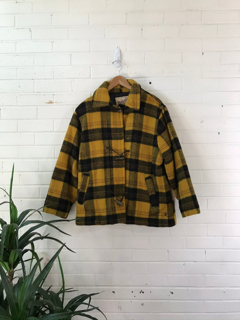 1970s Woolrich Yellow Plaid Wool Quilted Coat with Toggle image 0