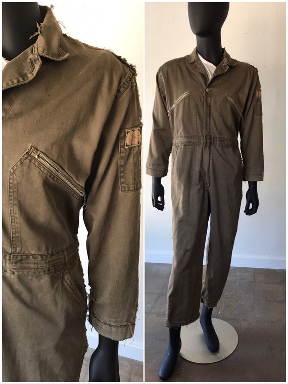 Vintage Distressed Army Green Workwear Coveralls /