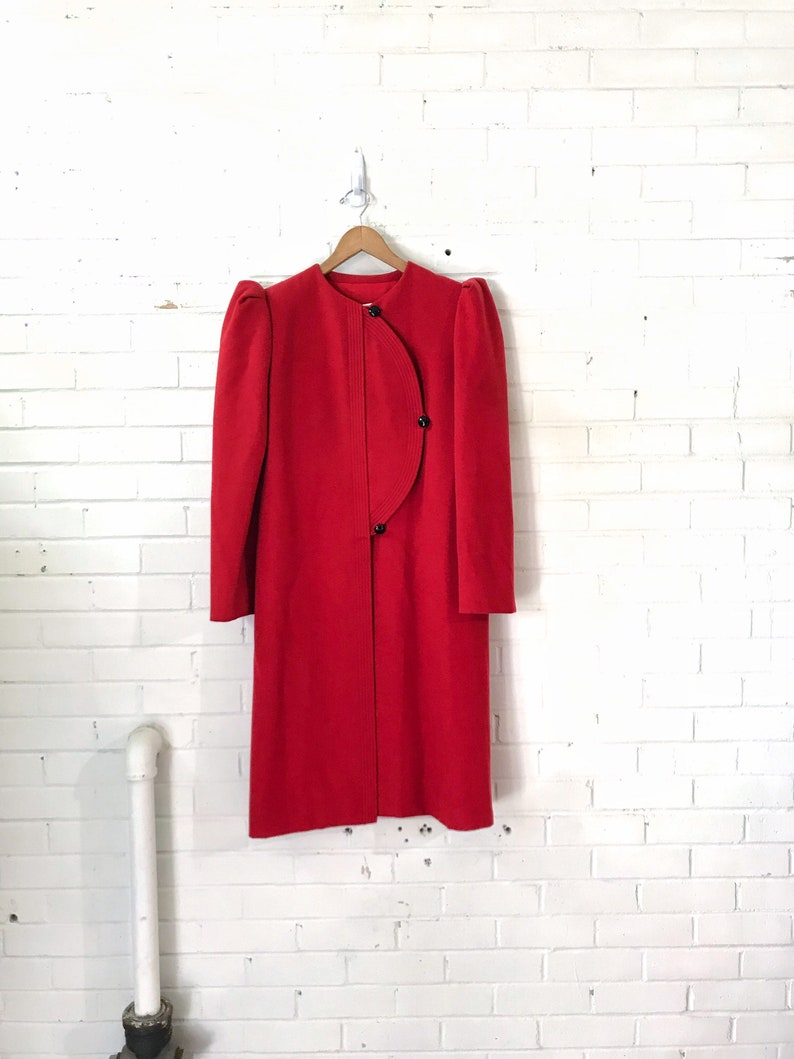 60s Galanos Red Wool Deco Inspired Coat With vented Back image 0