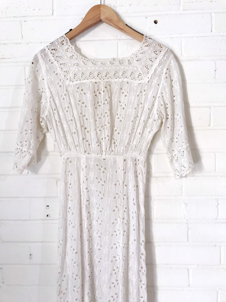 1900s Antique Broderie Anglaise White Eyelet Dress image 0