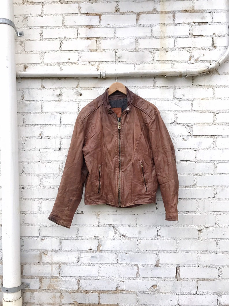 70s 80s Brown Leather Quilted Flight Jacket / Vintage Walter image 0