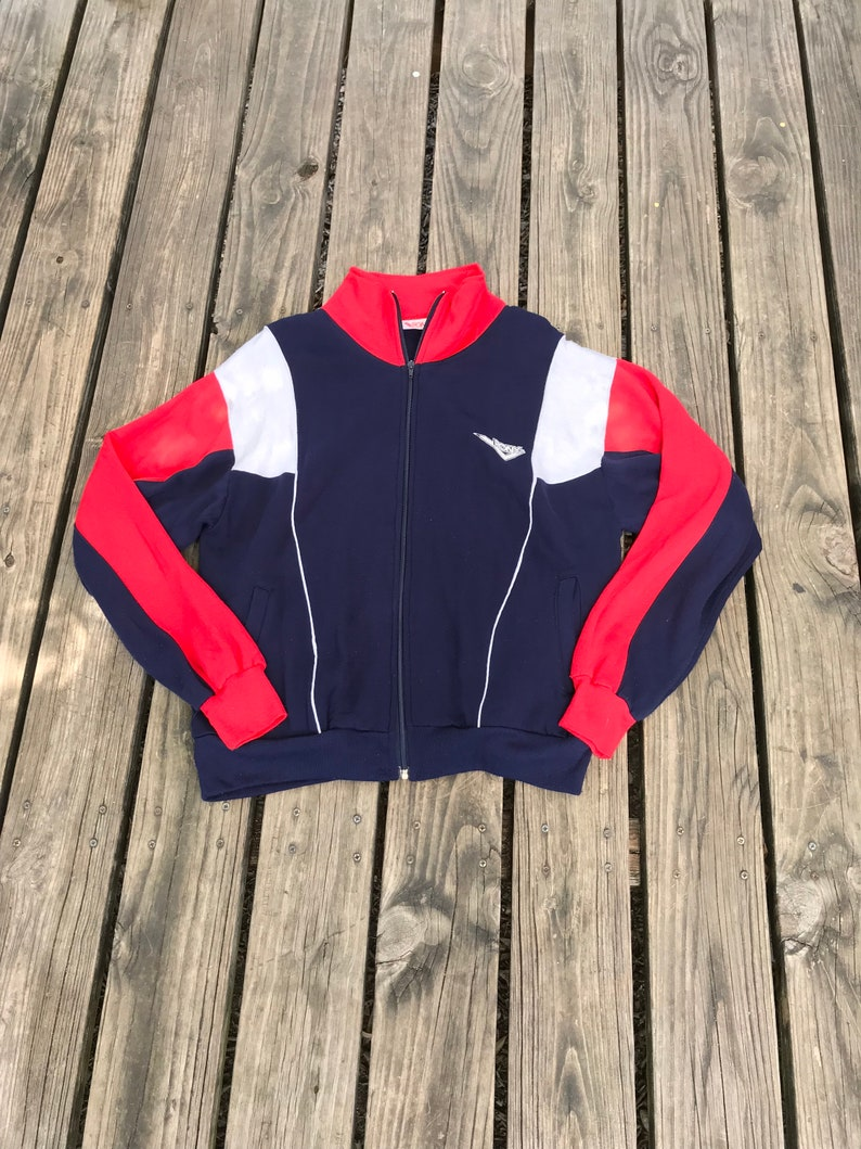 1970s Vintage Pony Red White and Navy Color-Block Track Jacket image 0