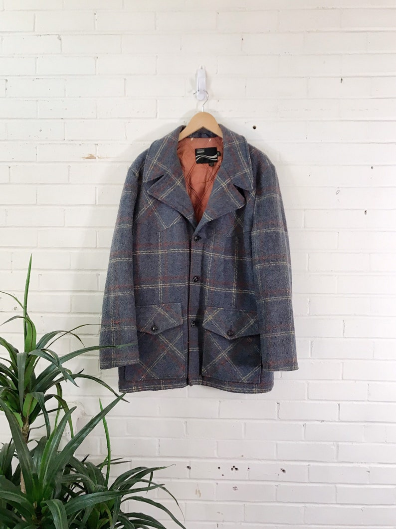 Vintage Montgomery Ward Grey Wool Argyle Quilted Jacket / image 0