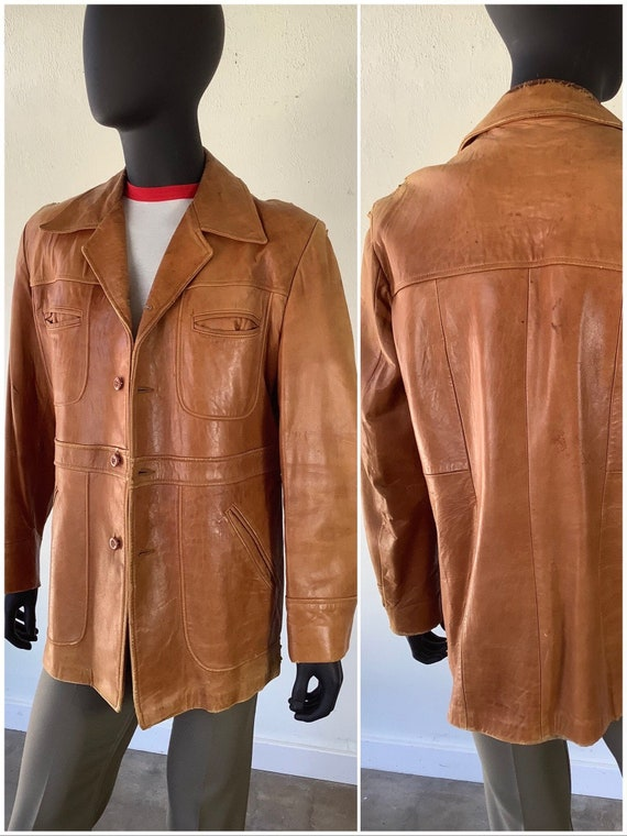 70s Vtg  Cresco Soft Brown Leather Jacket / Wester