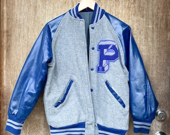 Vtg Varsity Letterman Jacket / Blue Grey / XS / Small