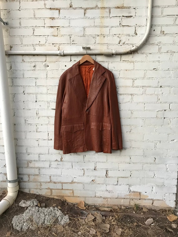 70s Vintage Leather Leisure Jacket / Retro Blazer