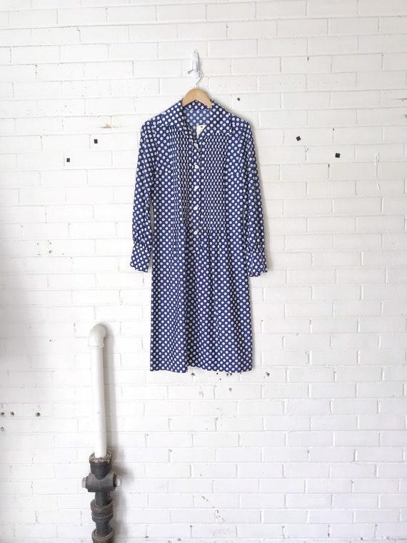 1970's Blue Polka Shift Dress