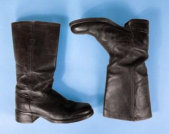 Vtg Levi's Black Leather Western Work Boots / Utility Combat Boots / Sz 9 Mens