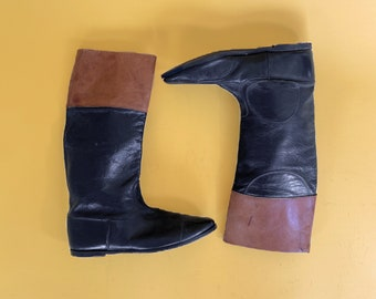 Vtg 60s -70s Black Leather Riding Boots with Brown Cuff / Womens Western Boots/ Flat Leather Boots / Sz 8.5