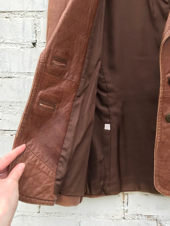 1970s Buttery Soft Brown Leather Jacket / Blazer … - image 6