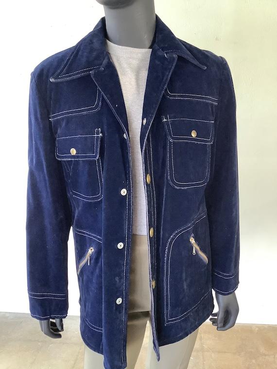 70s Vtg JC Penney Blue Velvet Jacket / Size Medium - image 2