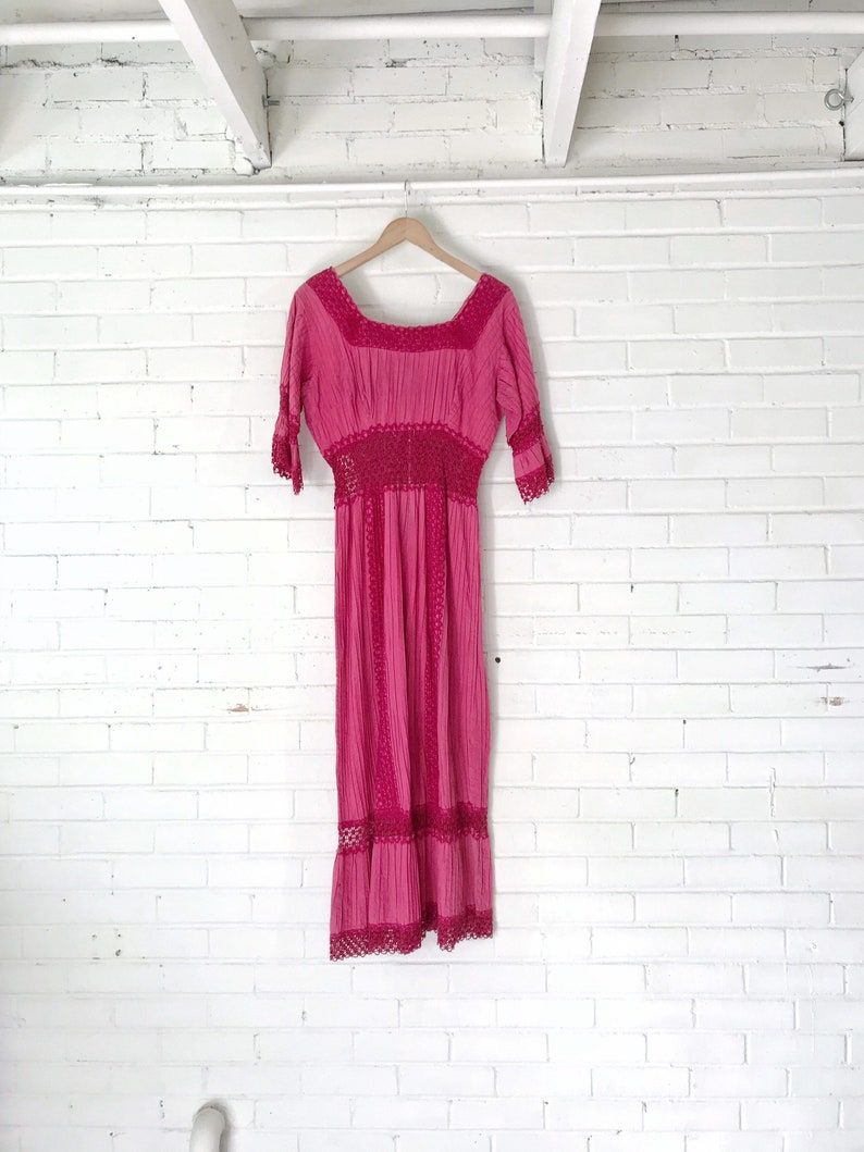 1960s Hot Pink Mexican Boho Wedding Dress image 0