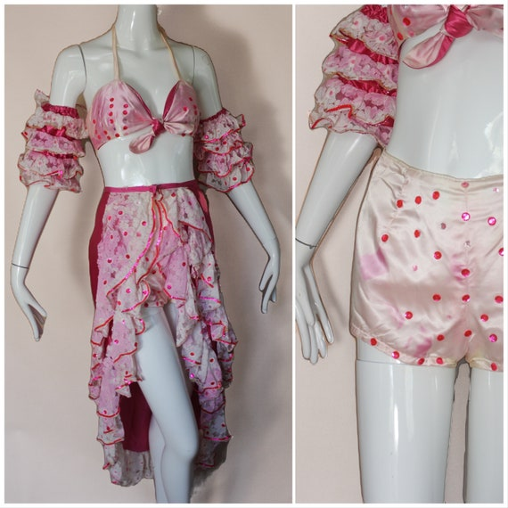Vtg 50s Pink Ruffled Showgirl Costume / Satin Mage