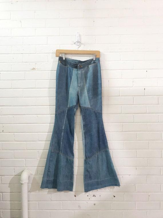 1960s Bell Bottom Patchwork Jean / Vintage High Wa