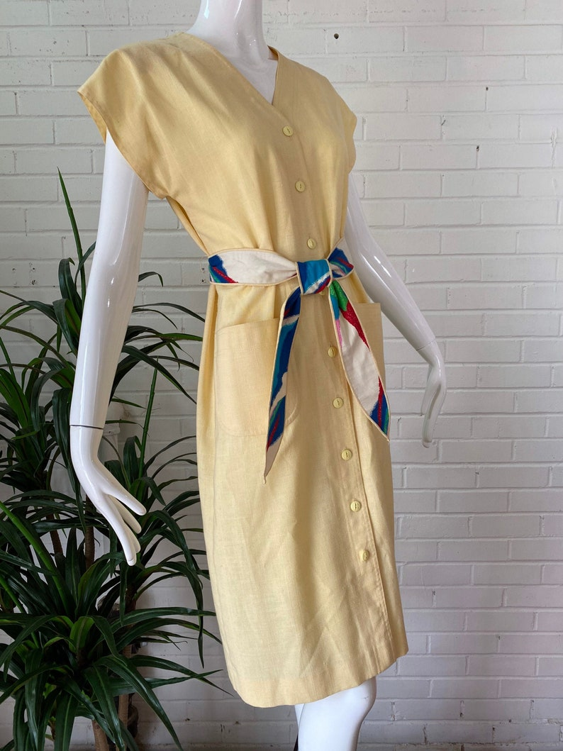 1970s Pastel Yellow Leslie Faye Front Button Belted Midi Dress image 0