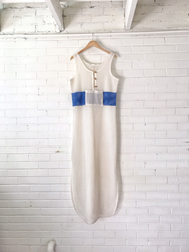 1960s Ivory and Blue Crochet Maxi Dress / Vintage Floor Length image 0