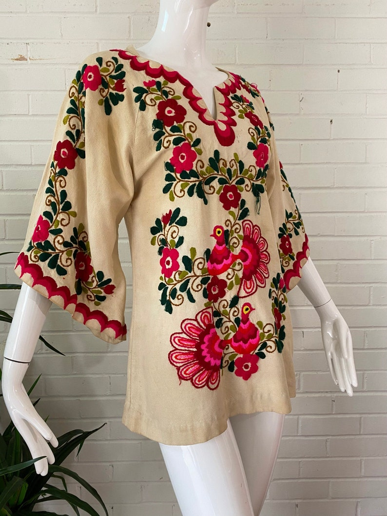 1960s Hand-Embroidered Mexican Floral Bell Sleeve Blouse / image 0