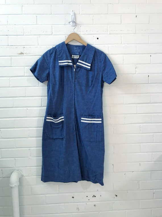 1950's Cotton Nautical Dress/ cotton house dress