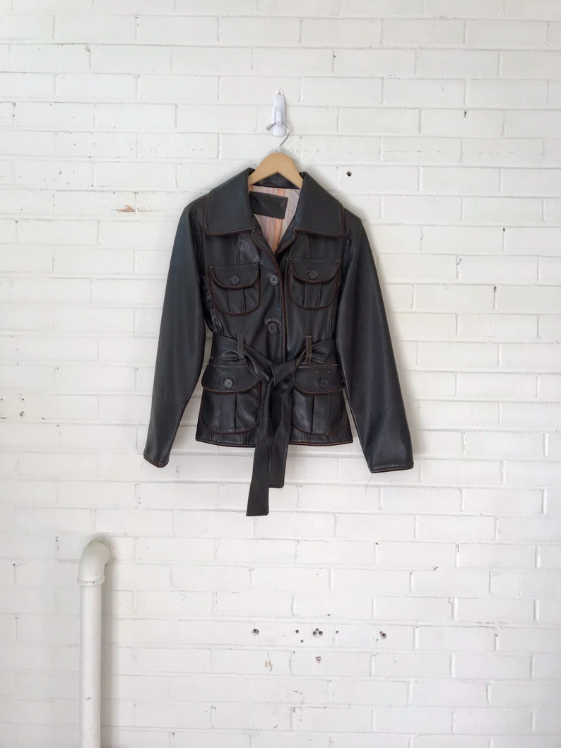1980s Belted Brown Leather Jacket image 0