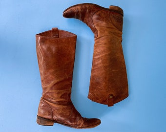Vtg Distressed Brown Leather Kenneth Cole Tall Western Boots / Womens Riding Boots / Sz 7