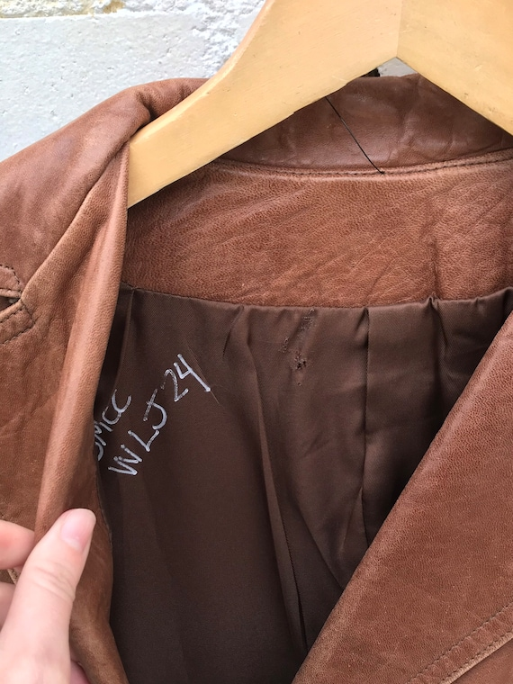 1970s Buttery Soft Brown Leather Jacket / Blazer … - image 7