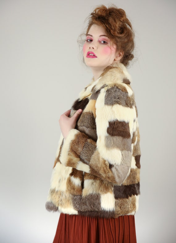 Vtg 70s Calico Patchwork Ivory/Brown Patchwork Rab
