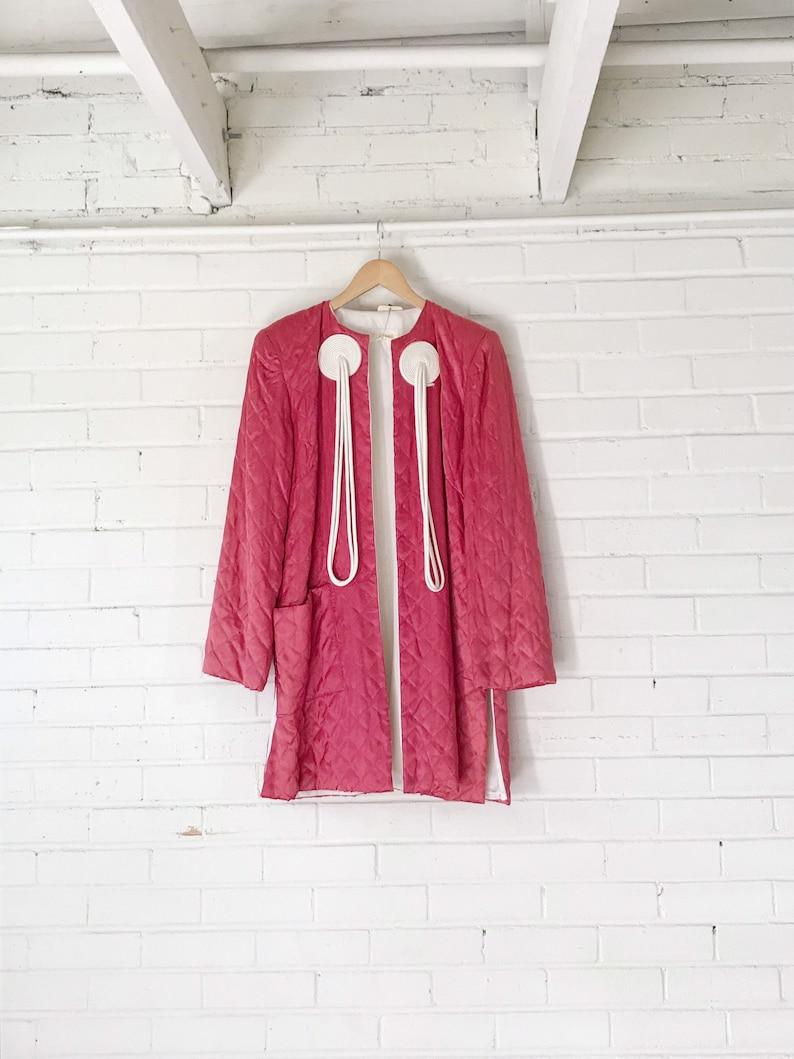 1960s Rasberry Quilted Asian Night Robe Jacket Kimono / image 0