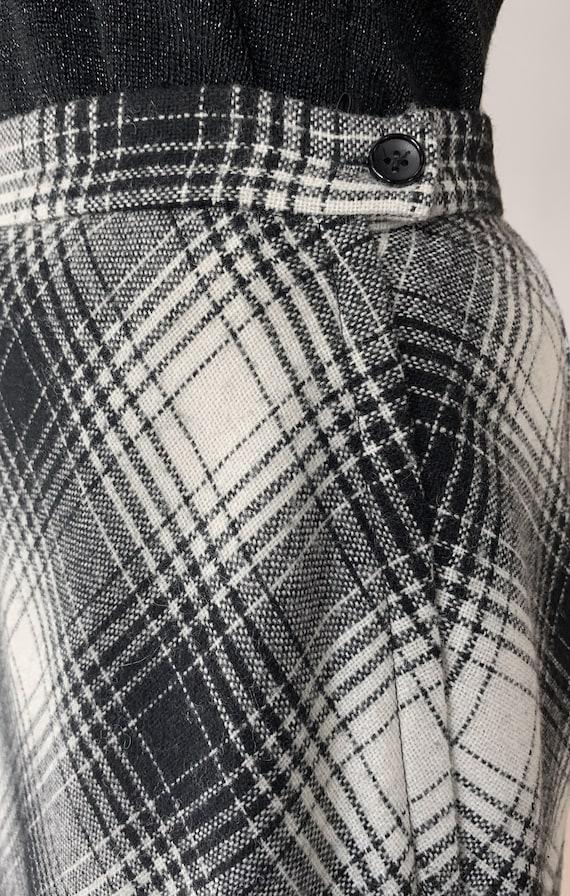 Vtg 50s Koret Long Black and White Plaid Skirt / … - image 6