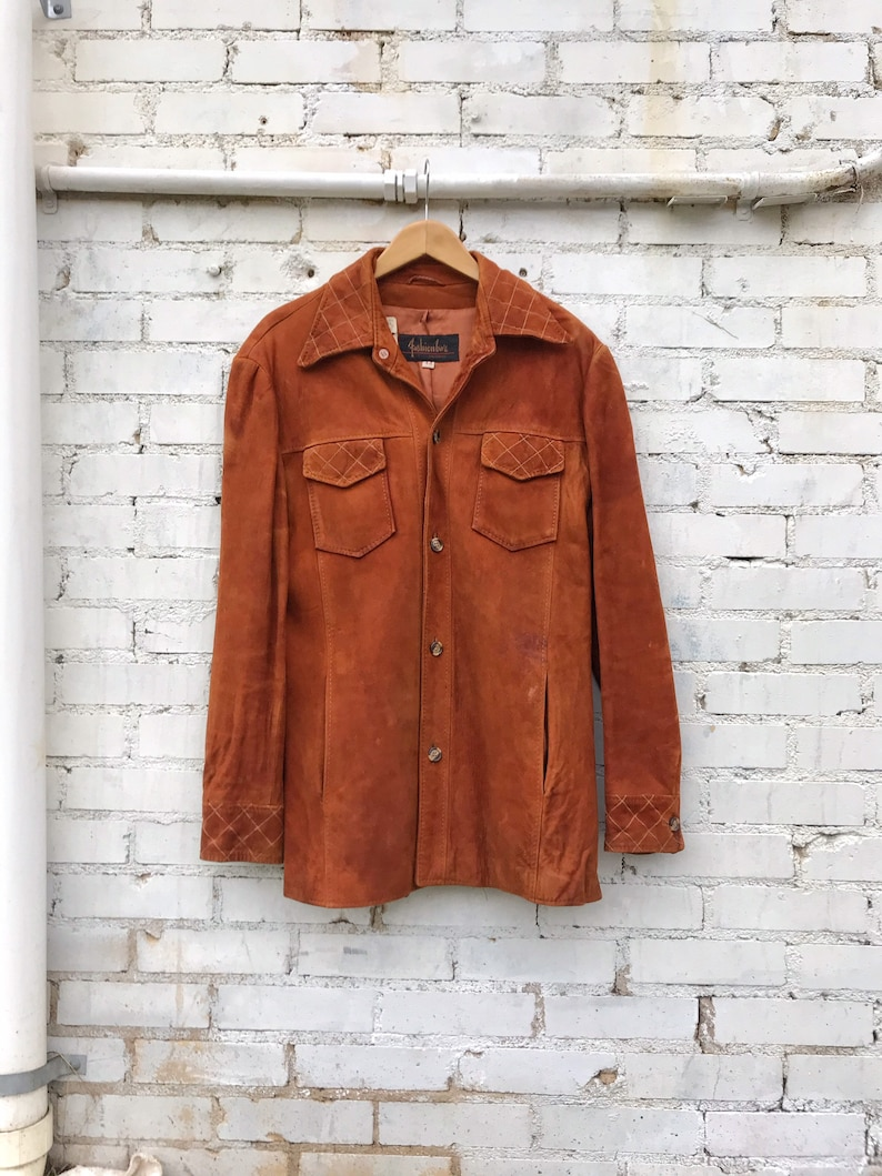60s 70s Brown Suede Quilted Jacket / Vintage Fashion Bar Soft image 0
