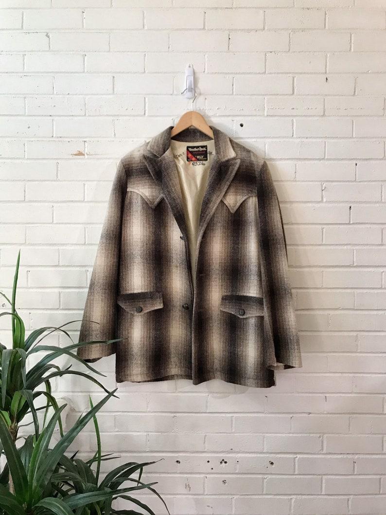 1970s Western Gray Brown Plaid Wool Jacket / Weather Jack image 0