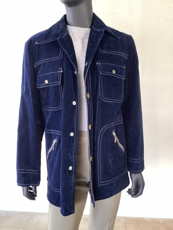 70s Vtg JC Penney Blue Velvet Jacket / Size Medium - image 5