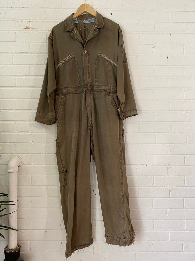 Vintage Distressed Army Green Workwear Coveralls / Utility image 0