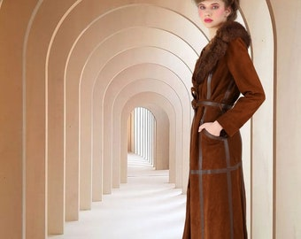 Vtg 70s Peter Caruso Soft Brown Suede Belted Trench Coat w Rabbit Fur Collar / XS - Small