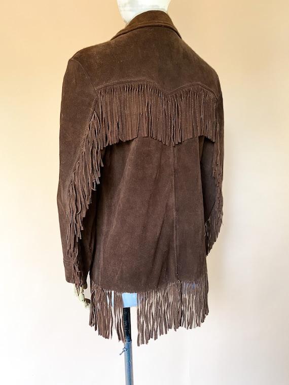 Vtg 60s Brown Suede Fringe Southwestern Jacket / … - image 5