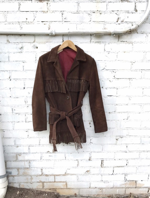 70's Dark Brown Suede Fringe Western Jacket / Boho