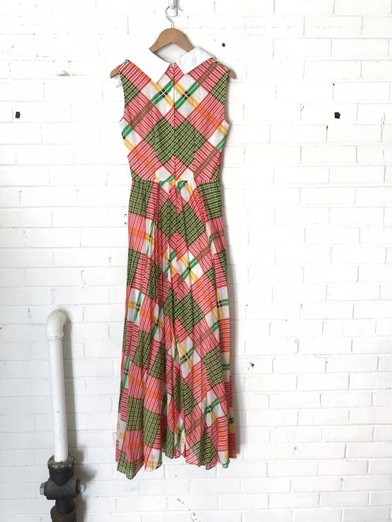 60s Plaid Pleated Maxi Dress / Vintage Red And Gr… - image 5