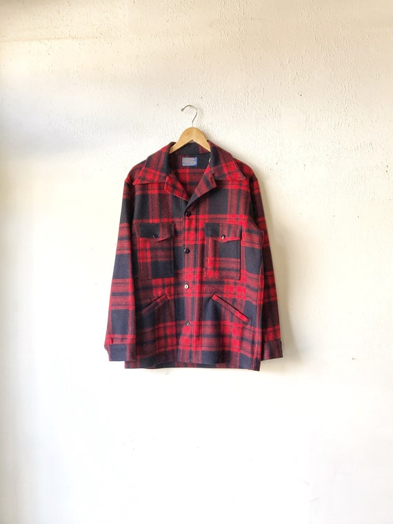 1970's Pendleton Red and Navy flannel wool Coat -